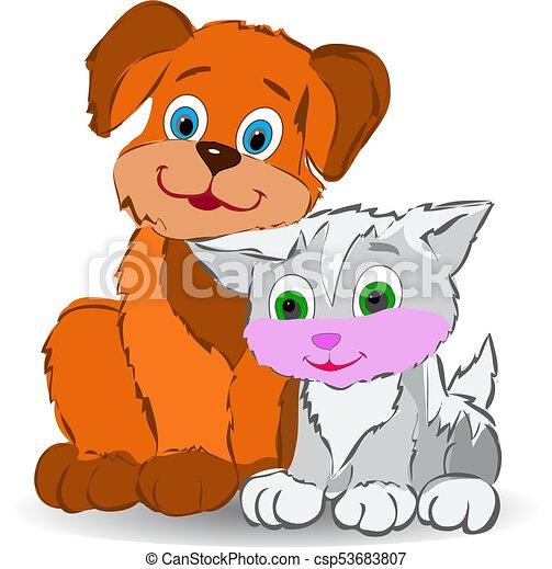 Amistad Sentado Otro Cada Perro Contra Caricatura Plano De