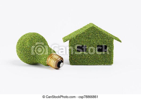 amistoso, concepto, bombilla, energía, eficiente, eco, hogar - csp78866861