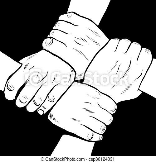 Amitié Dessin amitié, blanc, noir, solidarité, mains. style, art, pop, noir, retro
