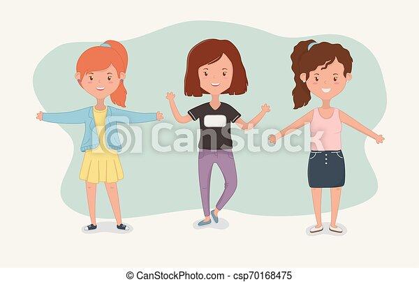 Amitie Conception Dessins Animes Filles Heureux Gens Filles Jeune Ensemble Theme Vecteur Illustration Firiendship Canstock
