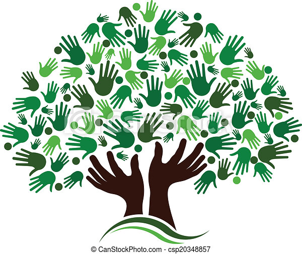 amitié, connexion, arbre, image. - csp20348857