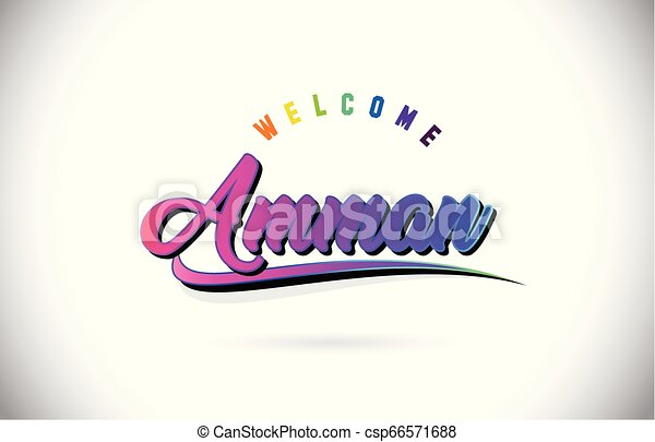 Amman Welcome To Word Text with Creative Purple Pink Handwritten Font and Swoosh Shape Design Vector. - csp66571688