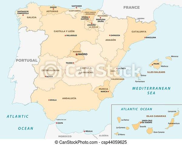 Bilbao Cartina Spagna.Amministrativo Politico Spagna Mappa Canstock