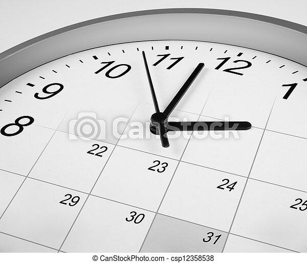 amministrazione, orologio, concept., faccia, calendar., tempo - csp12358538