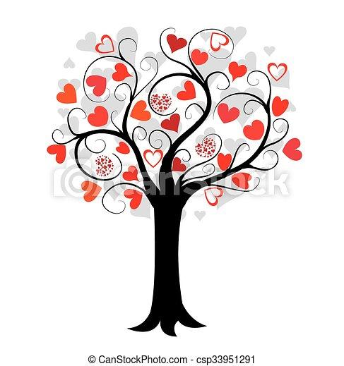 amor, árvore, vermelho, corações - csp33951291