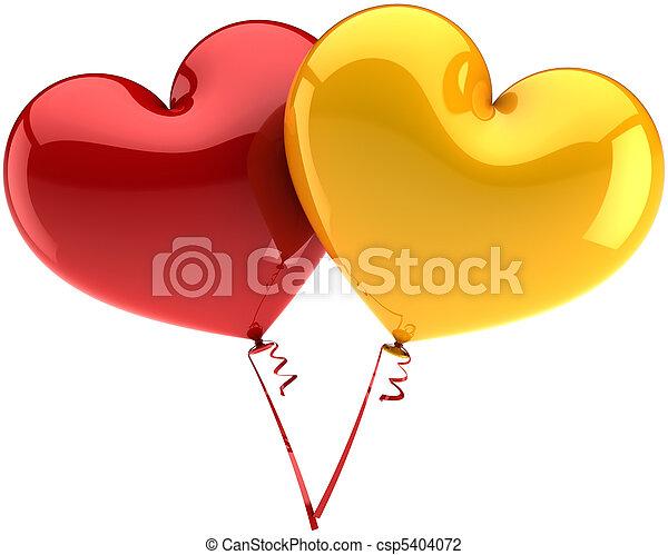amor, balões, coloridos, corações - csp5404072