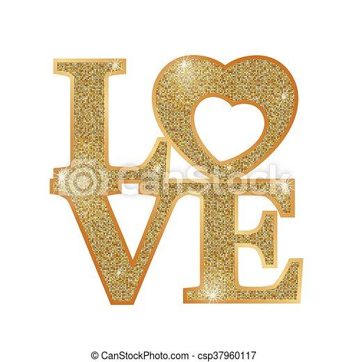 amor, cartas, oro - csp37960117