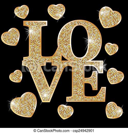 amor, cartas, oro - csp24942901