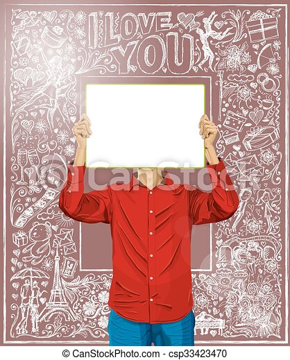 Un hombre con un tablero de escritura contra el fondo del amor - csp33423470