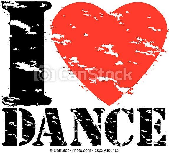 amor, dança, selo, ilustração, borracha, vetorial, grunge - csp39388403