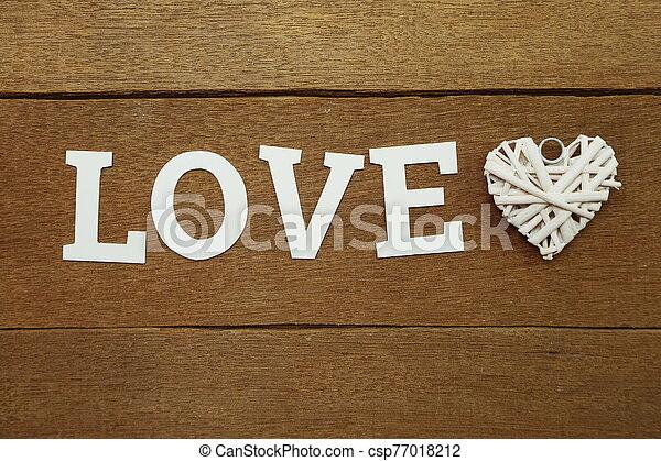 amor, de madera, corazón, alfabeto, plano de fondo, carta - csp77018212
