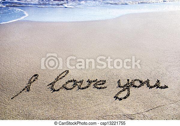 """amor, esboço, brilho, """"i, you"""", areia, palavras, molhados, onda - csp13221755"""