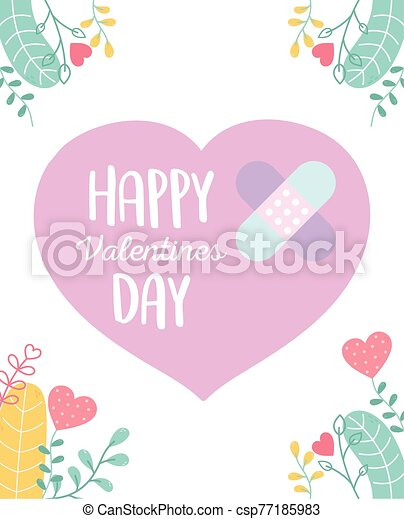 amor, feliz, corazón, lindo, vendas, triste, día, ayuda, valentines, primero - csp77185983