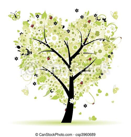 amor, folha, árvore, corações, valentine - csp3960689