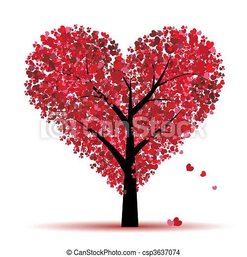 amor, folha, árvore, corações, valentine - csp3637074