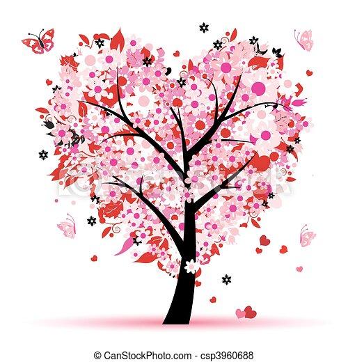 amor, folha, árvore, corações, valentine - csp3960688