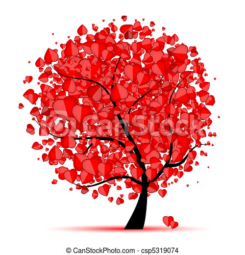 amor, folha, árvore, corações, valentine - csp5319074