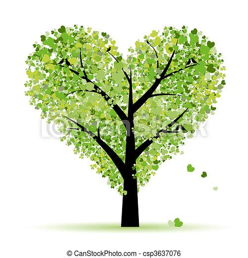 amor, hoja, árbol, corazones, valentine - csp3637076