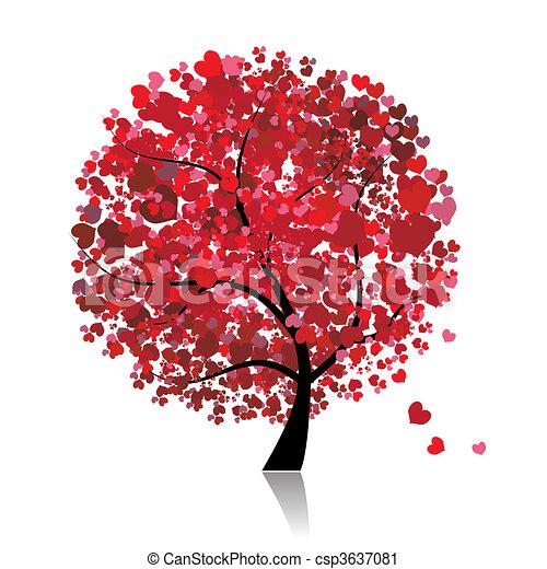 Árbol de San Valentín, amor, hoja de corazones - csp3637081