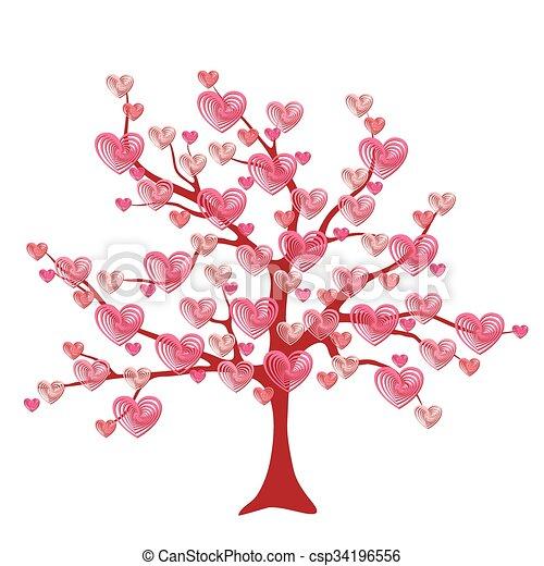 Amor Hoja árbol Corazones Valentine Amor Hojas Valentine