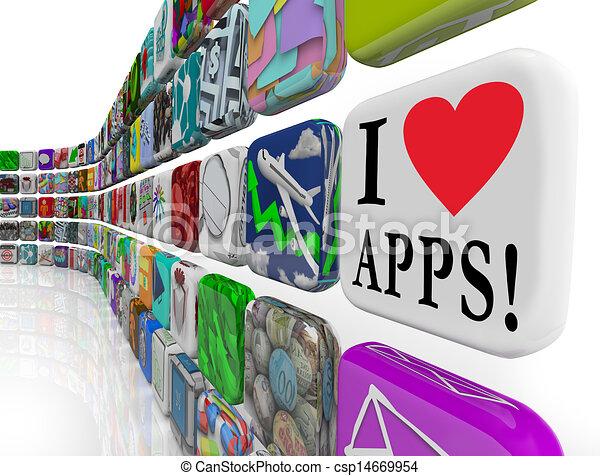 Me encantan las aplicaciones de palabras de aplicación de software de los iconos de azulejos - csp14669954