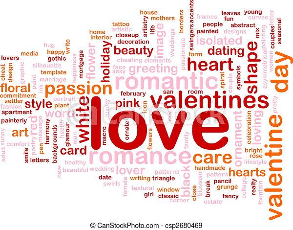 amor, palavra, nuvem - csp2680469
