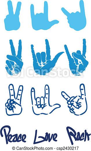 amor, paz, mão, rocha, logotipo, sinal - csp2430217