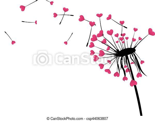El pasado de San Valentín con el diente de león del amor. - csp44063807