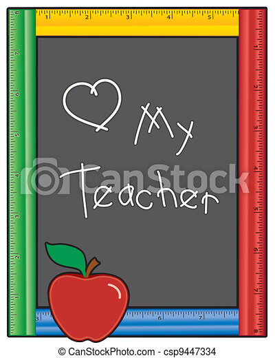 amor, quadro-negro, professor, meu, régua - csp9447334