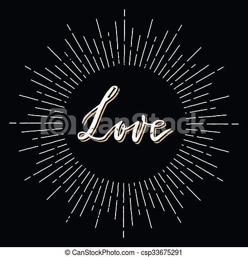 Retro sunburst con cartas de amor - csp33675291