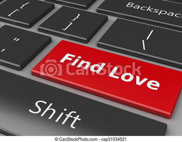 Teclado 3D con botón de amor. - csp31034521