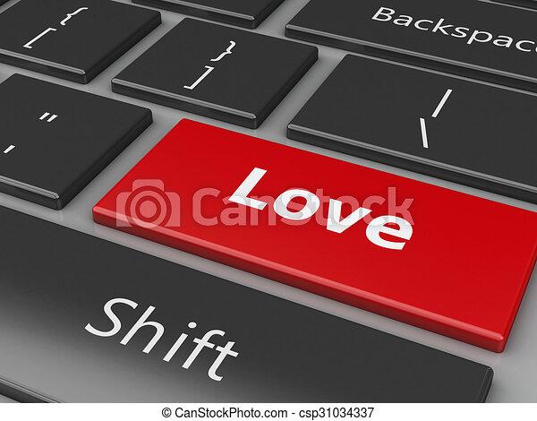 Teclado 3D con botón de amor. - csp31034337