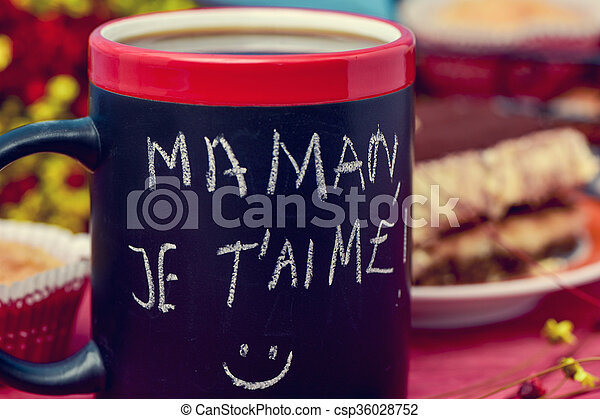 Desayuno Y Texto Maman Je T Pointe Te Amo Mamá En Francés