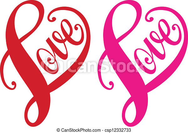 Amor, corazón rojo, vector - csp12332733