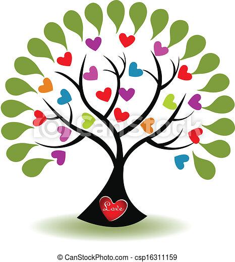 amor, vetorial, árvore, logotipo - csp16311159