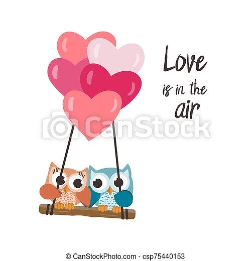 amor, vuelo, globos, valentine, búhos - csp75440153
