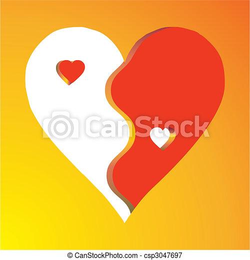Amor yin yang sobre fondo amarillo - csp3047697