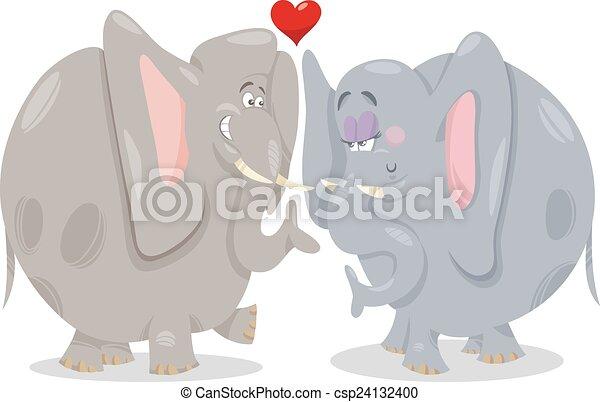 Amore cartone animato illustrazione elefanti carino amore