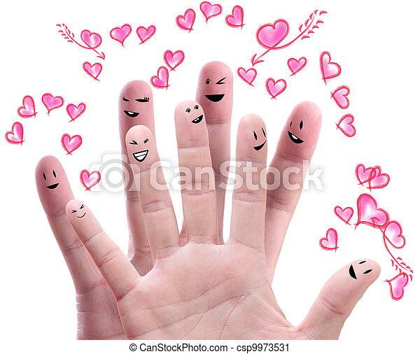 amore, offerta, loro, dito, facce, gruppo, felice - csp9973531