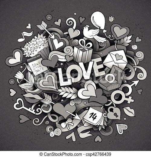 amore, scarabocchiare, illustrazione, mano, vettore, disegnato, cartone animato - csp42766439
