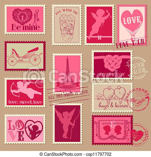 amore, vendemmia, -, valentina, invito, francobolli, vettore, album, disegno - csp11797702