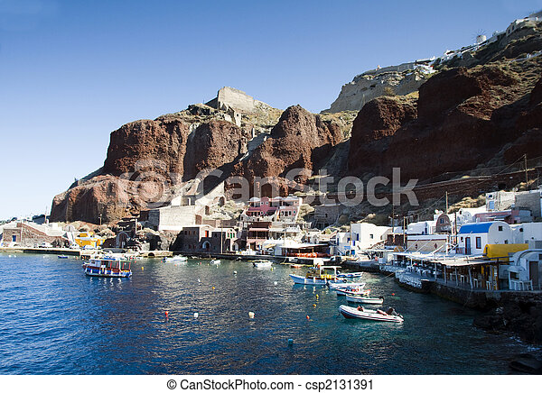 amoudi port below oia caldera in santorini greek islands - csp2131391