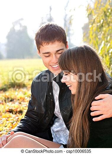 amour, couple, ensoleillé, avoir, automne, amusement, sourire, jour, heureux - csp10006535
