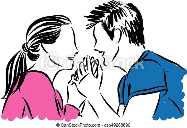 Amour Couple Illustration Vecteur Tenant Mains