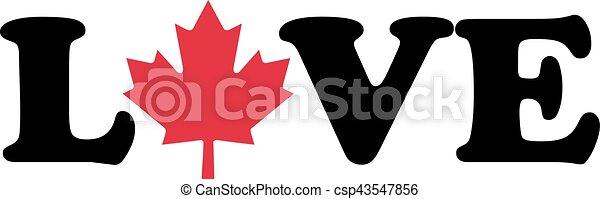 amour, feuille, mot, érable, canadien - csp43547856