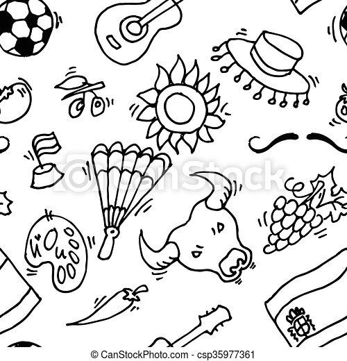 Amour mod le symboles doodles spain espagne 10 amour illustration mod le eps - Dessin espagne ...