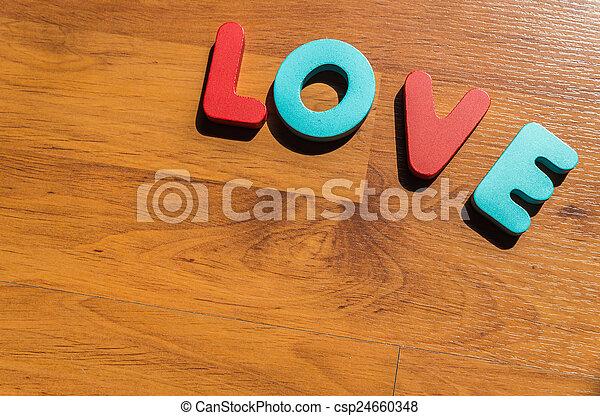 amour, plancher, bois, laminate, 3, mot - csp24660348