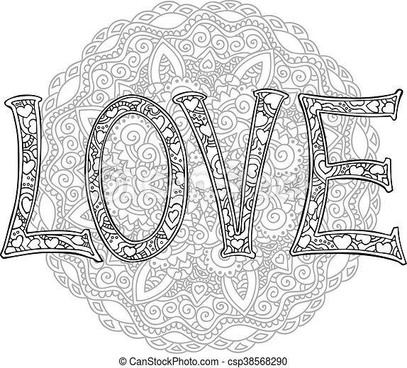 Amour texte main lettres dessin monochrome mandala - Mandala amour ...