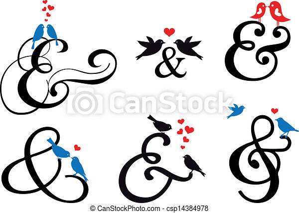 ampersand sign with birds, vector  - csp14384978