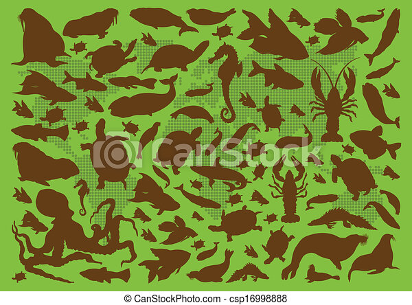 Amphibian reptile, snake, turtle, lizard and frog vector - csp16998888